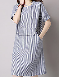Women's Going out Casual/Daily Work Simple Cute Chinoiserie Loose Dress,Striped Round Neck Knee-length Short Sleeve Cotton Linen Summer