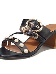 Women's Slippers & Flip-Flops Sandals Comfort PU Summer Casual Walking Comfort Beading Chunky Heel White Black Beige 3in-3 3/4in