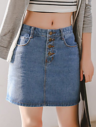 Women's Mid Rise Knee-length Skirts Pencil Denim Solid