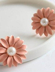Korean Style Pink Little Daisy Flowers  Peal Stud Earrings Hot style 2017 New Jewelry Earring Lady Daily Gift Jewelry