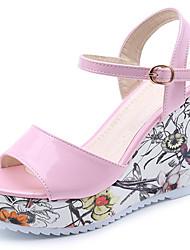 Sandales pour femmes confort d'été pu talon à talons extérieurs sequin boucle fleur marche