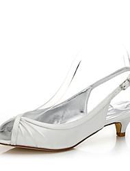Women's Wedding Shoes Spring Summer Comfort Dyeable Shoes Silk Wedding Outdoor Office & Career Party & Evening Dress Low Heel Buckle