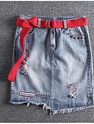 Women's Mini Skirts A Line Denim Solid