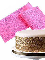 1Pcs  Flower Silicone Lace Impression Mold Cake Decor Bake Emboss Mat Mould Craft Random Color