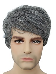 Capless Short Grey Mix Color Wave Synthetic Hair Wig For Mens fashion Mens Wig