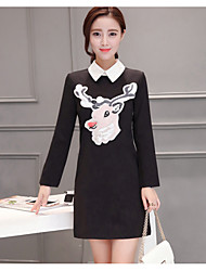 Women's Going out Casual/Daily T Shirt Dress,Geometric Stand Above Knee Long Sleeve Rayon Summer Low Rise Inelastic Thin