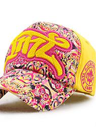 Men's Cotton Baseball Cap Sun Hat Outdoors Sports Vintage Casual Color Block Print Embroidery Summer All Seasons Orange/Pink