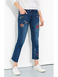 Women's Embroidery|Wide Leg Mid Rise Inelastic Jeans Pants,Bootcut Embroidered Animal Print