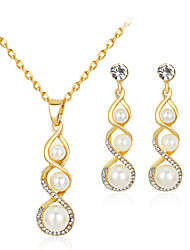 Jewelry Set Earrings Set Necklace Euramerican Fashion Rhinestone Alloy Geometric 1 Necklace 1 Pair of Earrings ForWedding Party Special