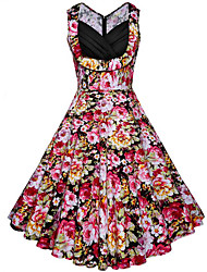 Women's Going out Holiday Vintage Sheath Dress,Floral V Neck Midi Sleeveless Cotton Summer Mid Rise Inelastic Medium