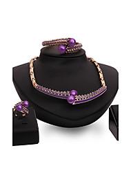 Set de Bijoux Perle imitée Strass Mode Vintage Personnalisé euroaméricains Bijoux Fantaisie Imitation de perle Strass AlliageGoutte