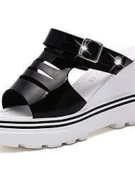 Women's Sandals Gladiator PU Spring Summer Casual Dress Gladiator Buckle Wedge Heel White Black Champagne 3in-3 3/4in