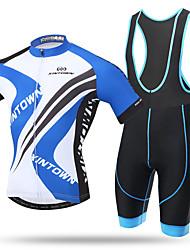 XINTOWN Maillot et Cuissard à Bretelles de Cyclisme Homme Femme Unisexe Manches Courtes Vélo Collant à Bretelles/Corsaire Bretelles