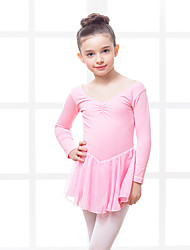 Ballet Dresses Kid's Training Chiffon Cotton Spandex Pleated 1 Piece Dress