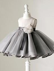 Ball Gown Short / Mini Flower Girl Dress - Organza Jewel with Flower(s) Sash / Ribbon Ruching