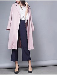 Women's Casual/Daily Simple Spring Trench Coat,Solid Square Neck Long Sleeve Long Polyester