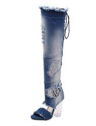 Damen-Stiefel-Kleid Lässig Party & Festivität-Denim Jeans Mikrofaser-Blockabsatz-Komfort Neuheit Club-Schuhe-