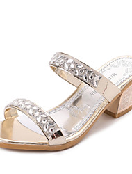 Women's Slippers & Flip-Flops Summer T-Strap Leatherette Outdoor Dress Casual Chunky Heel Rhinestone Sliver Gold Walking