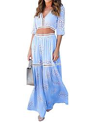 Women's Boho/Backless Beach Holiday Simple Swing Dress,Print V Neck Maxi Short Sleeve Polyester Summer Mid Rise Inelastic Medium