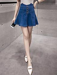 Damen Einfach Lässig/Alltäglich Mini Röcke A-Linie einfarbig Sommer