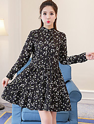 Women's Casual/Daily Simple A Line Dress,Floral Stand Above Knee Long Sleeve Polyester Summer Low Rise Inelastic Thin