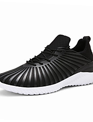 Men's Athletic Shoes Spring Summer Fall Winter Comfort PU Outdoor Athletic Casual Lace-up Screen Color Dark Blue Black Running