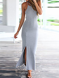 Women's Casual/Daily Beach Party Sexy Vintage Simple Bodycon Sheath Dress,Solid Strap Maxi Sleeveless Rayon All Seasons Summer Mid Rise