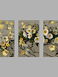 Hand-Painted Modern Rose Flower & Plants Oil Painting Three Panel Canvas Oil Painting Multi Split Oil Painting