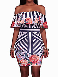 Women's Off Shoulder/Ruffles and Frills/Floral Patterns Going out Sexy Bodycon Dress,Boat Neck Above Knee Short Sleeve Summer Mid Rise