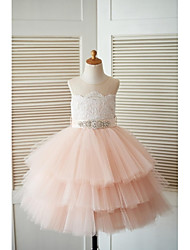 Princess Tea Length Flower Girl Dress - Lace Tulle Sleeveless Jewel Neck with Beading by thstylee