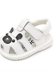 Boys' Baby Sandals First Walkers Cowhide Summer Casual First Walkers Flat Heel White Black Flat