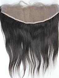 Orelha à orelha encaixe fechamento frontal 13x4inch seda brasileira virgem reta humana remy encalhou nós