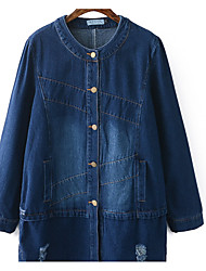 Women's Casual/Daily Simple Fall Denim Jacket,Solid Round Neck Long Sleeve Long Others