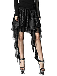 Punk Rave Women's Q-201 Sexy Vintage Punk Gothic Lace Pleated Jacquard Layered Skirts
