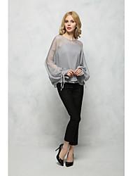 Damen Solide Sexy Einfach Street Schick Ausgehen Lässig/Alltäglich T-shirt,Rundhalsausschnitt Sommer Herbst Langarm Baumwolle Mittel