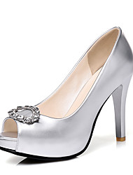 Women's Heels Spring Summer Club Shoes Formal Shoes Leatherette Wedding Party & Evening Dress Stiletto Heel Rhinestone Purple Silver Gold