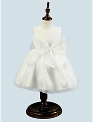 BONJEAN A-line Knee-length Flower Girl Dress - Organza Jewel with Flower(s)