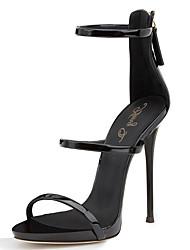 Women's Sandals With Three Straps 2017 Black Shiny Patent High Heel Shoes Sxey Sandals Ladies Gladiator Heels Stilettos Plus Size