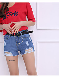 Women's High Rise strenchy Jeans Shorts Pants,Simple Wide Leg Solid