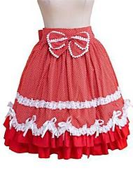 Rock Niedlich Rokoko Cosplay Lolita Kleider Tupfen Ärmellos Knielänge Rock Minimantel Für Gepolsterten Stoff