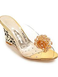 Women's Sandals Summer Comfort PU Casual Wedge Heel Rhinestone Silver Gold