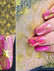 1 feuille en or embossée 3d ongles autocollants fleur en fleurs florales 3d ongles autocollants autocollants décors décoration