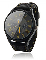 Men's Sport Watch Quartz Silicone Band Black