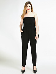 Really Love Women's High Rise Work Beach Party Going out Casual/Daily Club Holiday Jumpsuits,Sexy Vintage Simple Straight Slim Pure Color Knitting