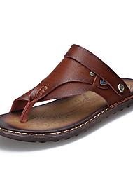 Sandálias masculinas conforto verão couro natural castanho escuro escuro