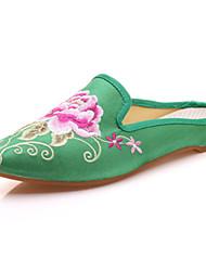 Femme-Extérieure Bureau & Travail Habillé Décontracté Sport--Talon Plat-Confort Nouveauté A Bride Arrière Chaussures brodées-Oxfords-