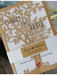 Royal Tree Decorations Laser Cut Wedding Invitations Card - Set of 50