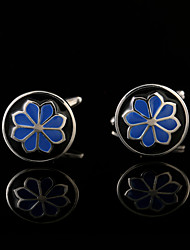 Blue Pattern Enamel Flower Cufflinks Male Business Buttons French Shirt Cuff links for Men's Jewelry Wedding Gifts For Guests