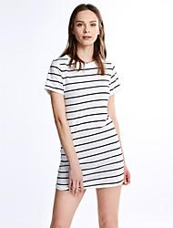 Women's Fine Stripe Casual/Daily Shift Dress,Striped Round Neck Mini Short Sleeve White / Black Cotton All Seasons