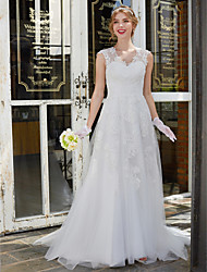 A-line Wedding Dress See-Through Sweep / Brush Train V-neck Lace Tulle with Lace